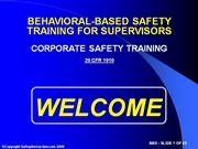 Behavioral Based Safety for Supervisors ...