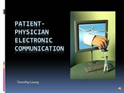 Timothy Leung - Patient-Physician Electronic Communication