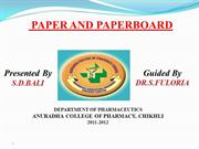 Paper and Paperboard