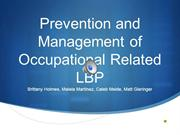 Occupational Related LBP