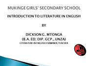 INTRODUCTION TO LITERATURE IN ENGLISH - PPT