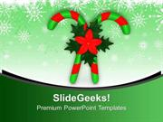 CHRISTIAN CANDY CANES AND HOLY FLOWERS PPT TEMPLATE