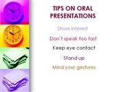 Tips on oral presentations