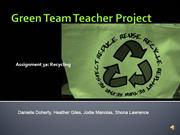 Green Team Teacher Project Presentation 11 May 2012
