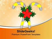 CHRISTIAN CANDY CANE WITH FLOWERS CHRISTMAS PPT TEMPLATE