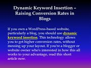 Dynamic Keyword Insertion – Raising Conversion Rates in Blogs(1)