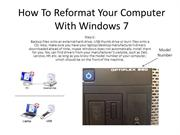 How To Reformat Your Computer With Windows 7