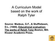 Tyler - his curriculum model