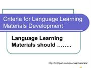 Language Learning materials should