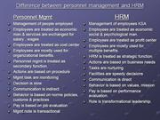 Difference between personnel management and HRM