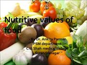 Nutritive values of food