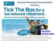 Financial planning, Financial advice & Superannuation Seminars