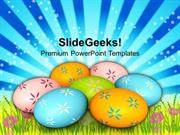 CHRISTIAN COLORFUL EASTER EGGS ON GRASS TRADITION PPT TEMPLATE