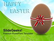 CHRISTIAN CHOCOLATE EASTER EGG WITH BOW FESTIVAL PPT TEMPLATE