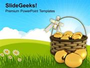 CHRISTIAN GOLDEN EASTER EGGS IN BASKET TRADITION PPT TEMPLATE