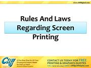 Rules And Laws Regarding Screen Printing