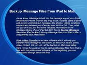 Backup iMessage Files from iPad to Mac