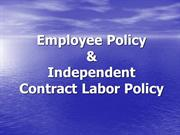 Employment and Independent Contract Labor Policy