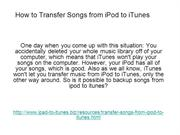 how to transfer songs from ipod to itunes