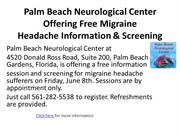 Palm Beach Neurological Center Offering Free Migraine