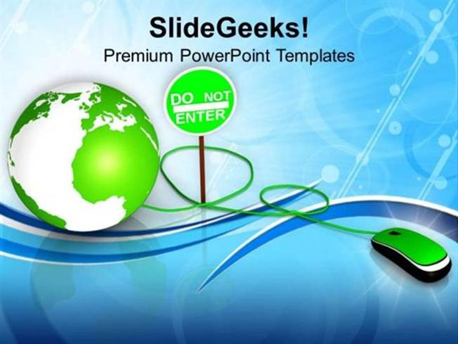 Information Technology Green Mouse With Green Globe Ppt Template
