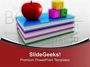 FOOD BOOKS WITH APPLE AND BLOCKS EDUCATION THEME PPT TEMPLATE