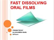 FAST DISSOLVING ORAL FILMS