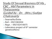 study of sexual biasness of Hb , CBC & HbF parameters in thalassemia