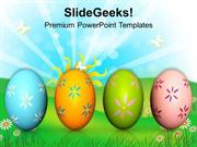 CHRISTIAN COLORFUL EASTER EGGS ON WHITE BACKGROUND PPT TEMPLATE