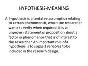 HYPOTHESIS-MEANING
