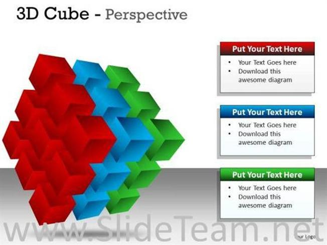 layers 3d cube perspective slides and diagram template powerpoint