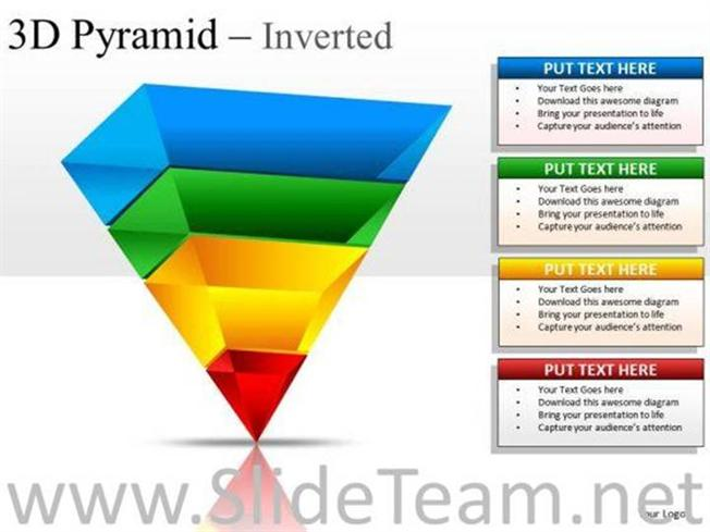 4 stages layered 3d inverted pyramid slides and diagram templates, Powerpoint templates