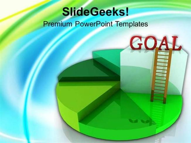 business time to achieve goal with pie chart ppt template, Powerpoint templates