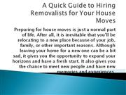 A Quick Guide to Hiring Removalists for Your