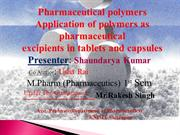 polymers used in New drug delivery system ,Saundarya Presentation