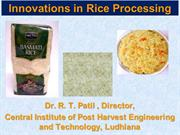 Innovations in Rice processing