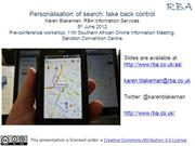 Personalisation of search: take back control
