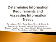 Determining Information Requirements and Assessing Information Needs
