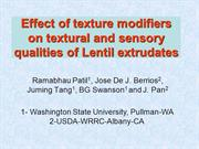 Qualities of lentil extrudates