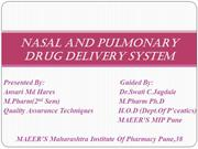 NASAL AND PULMONARY drug delivery