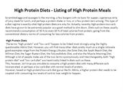 High Protein Diets - List of High Protein Foods