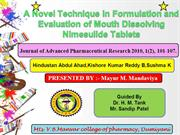 A Novel Technique in Formulation and Evaluation of Mouth Dissolving Ni