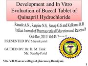 Development and In Vitro Evaluation of Buccal Tablet of Quinapril Hydr