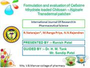 Formulation and evaluation of Cefixime trihydrate loaded Chitosan – Al