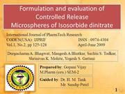 Formulation and evaluation of Controlled Release Microspheres of Isoso