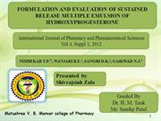 FORMULATION AND EVALUATION OF SUSTAINED RELEASE MULTIPLE EMULSION OF H