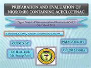PREPARATION AND EVALUATION OF NIOSOMES CONTAINING ACECLOFENAC