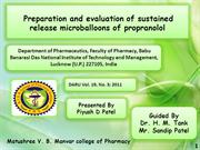 Preparation and evaluation of sustained release microballoons of propr