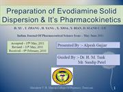 Preparation of Evodiamine Solid Dispersion & Its Pharmacokinetics
