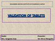 VALIDATION OF TABLETS